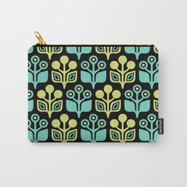 Mid Century Garden Flower Pattern Black Turquoise Chartreuse Carry-All Pouch