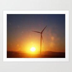 Windmill Sunset Art Print