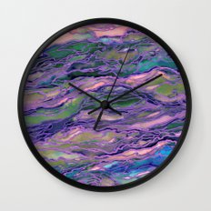 MARBLE IDEA! LAVENDER PINK PEACH Abstract Watercolor Painting Colorful Geological Nature Marbled Art Wall Clock