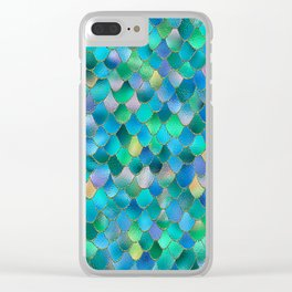 Summer Ocean Metal Mermaid Scales Clear iPhone Case