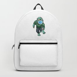 Zombie Walking With Face Mask Quarantined Halloween Gift Backpack