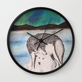 """Northern Lights & """"I Wolves You"""" Nights Wall Clock"""