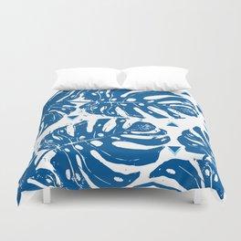 Blue Monstera Dreaming Duvet Cover