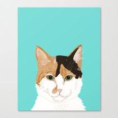 Calico Cat - Cute cat black, white, tan, orange tabby cat, cute kitten Canvas Print