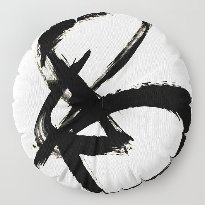 Brushstroke 3 - a simple black and white ink design Floor Pillow