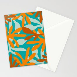 Seychelles Garden Botanical Abstract in Rust, Orange, Aqua, and Turquoise Stationery Cards