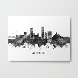 Alicante Spain Skyline BW Metal Print