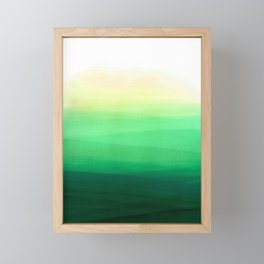Dip dye background in shades of green Framed Mini Art Print