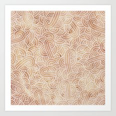 Iced coffee and white swirls doodles Art Print