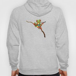 Tree Frog Playing Acoustic Guitar with Flag of Ethiopia Hoody