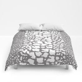 ANIMAL PRINT SNAKE SKIN GRAY AND WHITE PATTERN Comforters