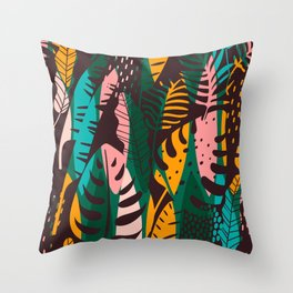 Vintage Tropical Leaf Pattern Throw Pillow