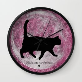Black Cats Wander Here Wall Clock