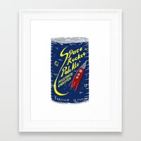 ale giorgini Framed Art Prints featuring Space Rocket Pale Ale by Moto