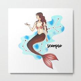 Scorpio Mermaid Metal Print