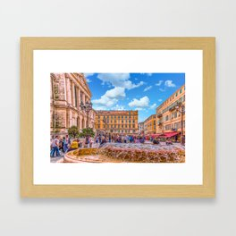 People in Nice Plaza with Fountain Framed Art Print
