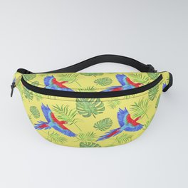watercolor tropical pattern parrot macaw yellow background Fanny Pack