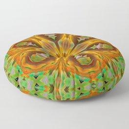 floral mandala v green orange Floor Pillow
