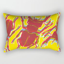 Stag Beetle Tricolore lino cut on yellow background Rectangular Pillow