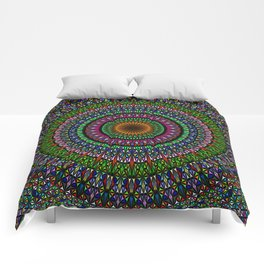 Hypnotic Church Window Mandala Comforters