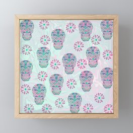 Marbled Sugar Skulls Framed Mini Art Print