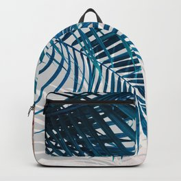 Blue and Pink Blush Palm Leaves Backpack