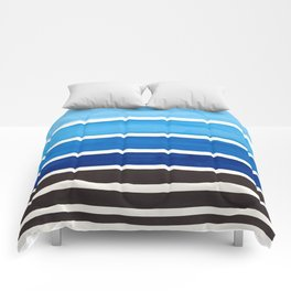Prussian Blue Minimalist Watercolor Mid Century Staggered Stripes Rothko Color Block Geometric Art Comforters