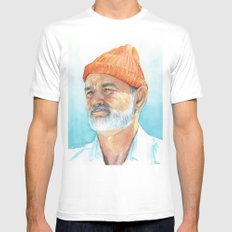Steve Zissou Art Life Aquatic Bill Murray Watercolor Portrait White MEDIUM Mens Fitted Tee