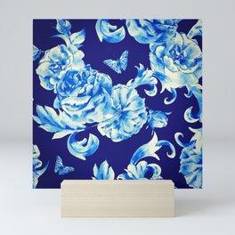Blue Flowers & Butterflies Pattern Mini Art Print