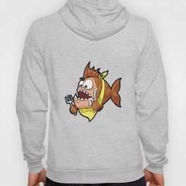 HUNGRY PIRANHA WITH KNIFE FORK AND BIB Fishing Hoody
