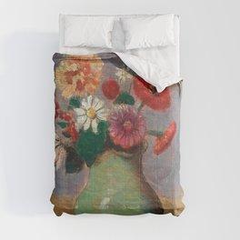"Odilon Redon ""Flowers in a Green Vase (Fleurs Dans Un Vase Vert)"" Comforters"