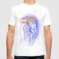Jellyfish watercolor White MEDIUM Mens Fitted Tee