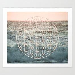 Mandala Flower of Life Sea Art Print