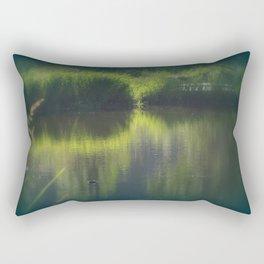 turtle swimming away at Trojan pond, near Goble, Oregon Rectangular Pillow
