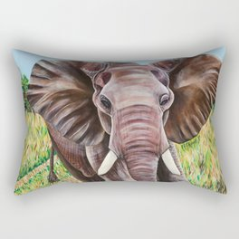 Elephant in the Grass Rectangular Pillow