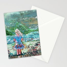 Little Girl, Ivy, Nature on a Windy Day: a colorful abstract piece in blue and greens by KKingCre Stationery Cards