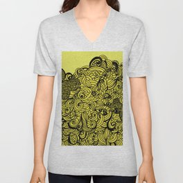Squirrels Zentangle Drawing Yellow Unisex V-Neck