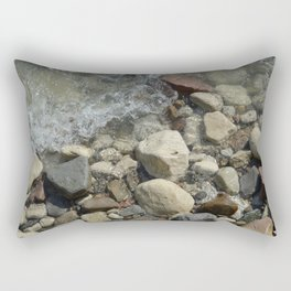 Multicolored pebble shore sweeped by waves. Rectangular Pillow