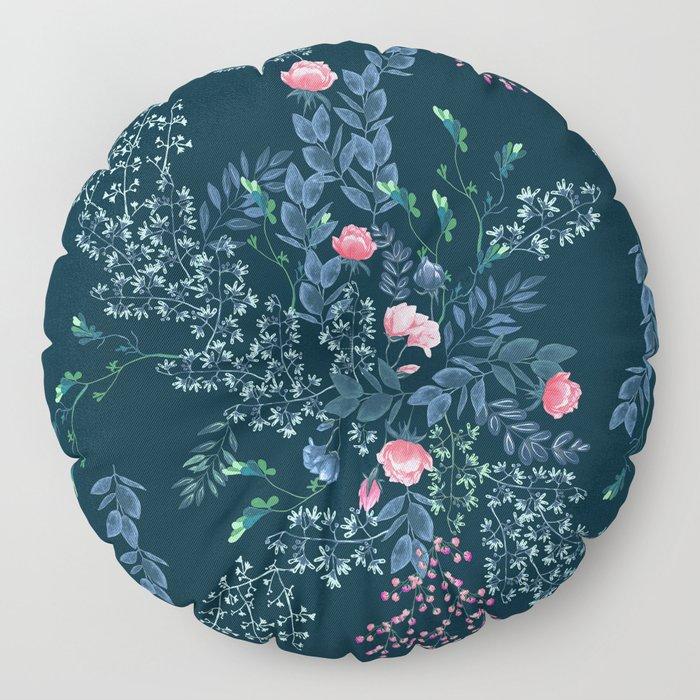 Floral - Blue & Pink Floor Pillow