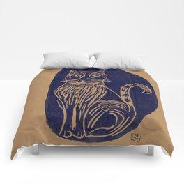 scared cat Comforters