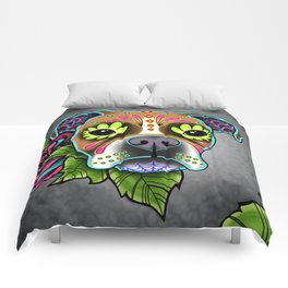 Boxer in White Fawn - Day of the Dead Sugar Skull Dog Comforters