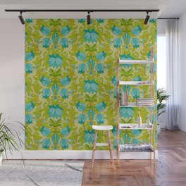 Turquoise and Green Leaves 1960s Retro Vintage Pattern Wall Mural