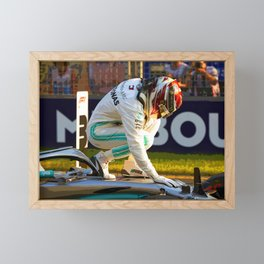 Lewis Hamilton thanking his car for pole position Framed Mini Art Print