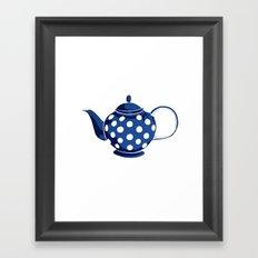 Blue Polka-Dot Teapot Framed Art Print