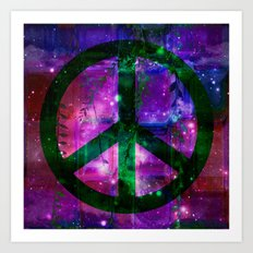 Peace symbol and infused colors Art Print