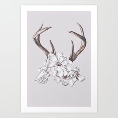 antler and magnolia Art Print