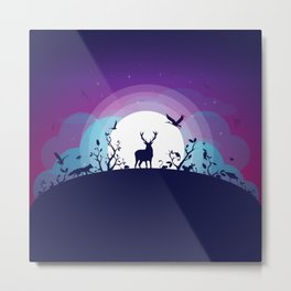 Forest Animals Gathering in the Moonlight Metal Print