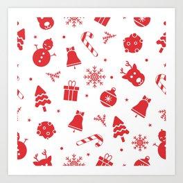 Merry Christmas Pattern - Red & White Art Print