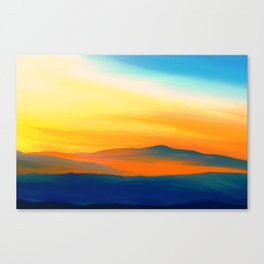 Painting of a landscape in blue, yellow and orange Canvas Print