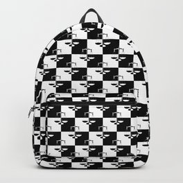 Black and White Checkerboard Scales of Justice Legal Pattern Backpack